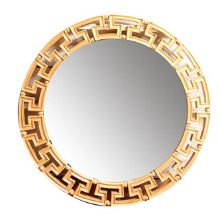 Glam Gold Greek Key Round Wall Mirror