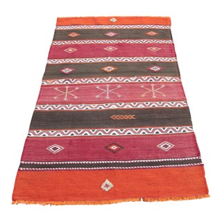 Orange Stripe Design Kilim Rug - 4' 3'' X 2' 6''