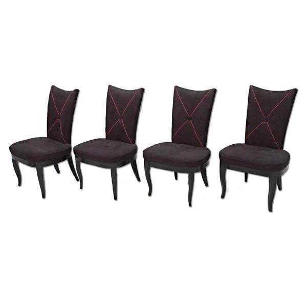 Modern Black Microsuede Chair Gold