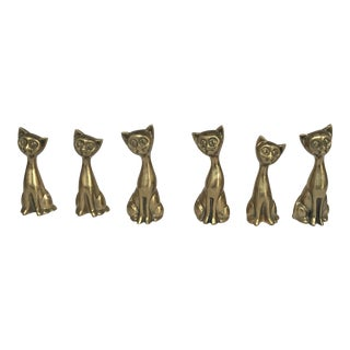 Mid-Century Modern Small Brass Cats - Set of 6