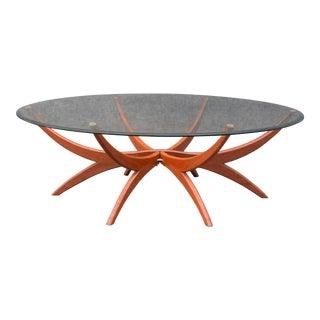 "Vintage Danish Mid-Century ""Spider"" Coffee Table in Walnut & Glass"