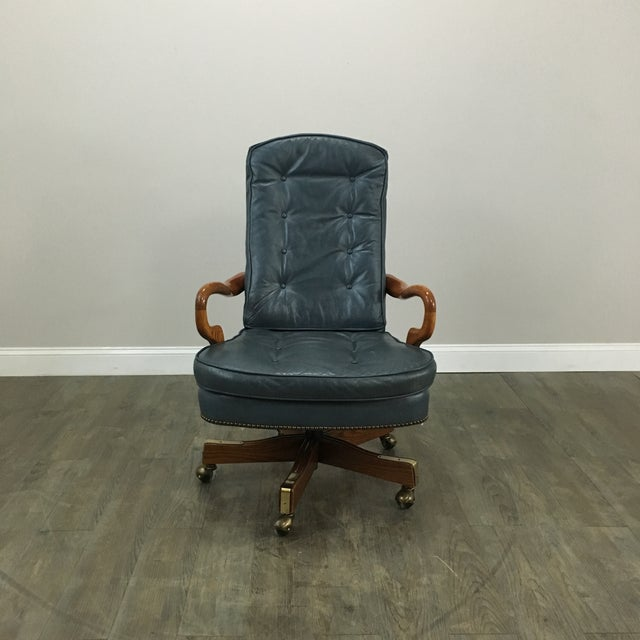 Sea Blue Tufted Leather & Nailhead Office Chair - Image 3 of 6