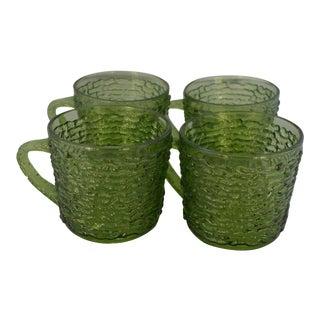 Mid-Century Avocado Green Tea Cups - Set of 4