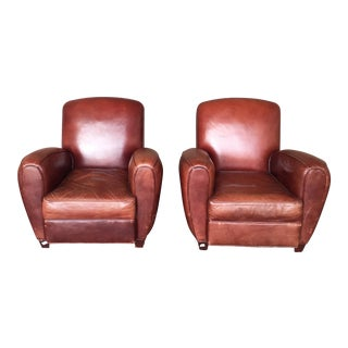 Saddle Brown Leather Club Chairs - A Pair