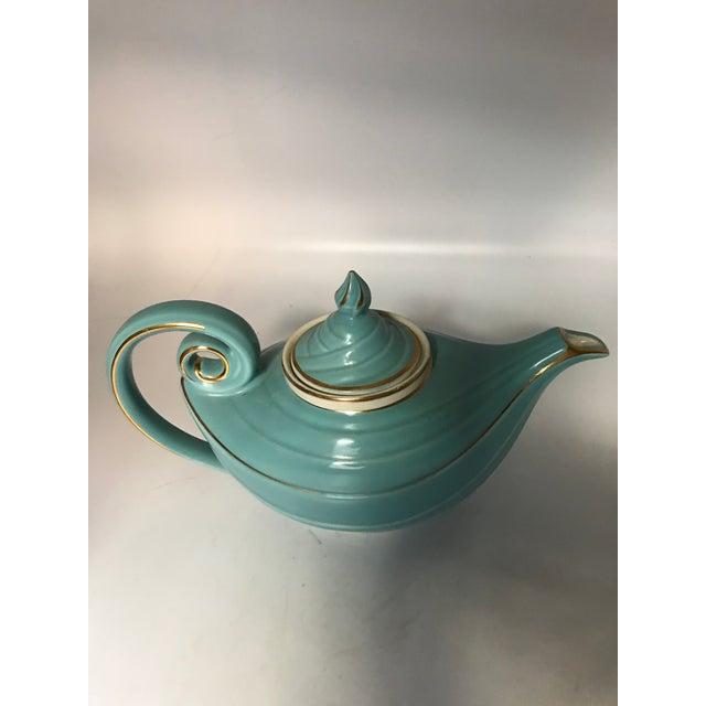 1950s Hall Tiffany Blue & Gold Aladdin's Lamp Teapot - Image 4 of 10