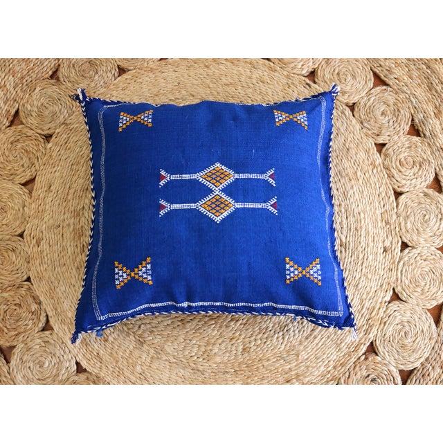 Moroccan Indigo Moon Sabra Cactus Silk Pillow - Image 2 of 3