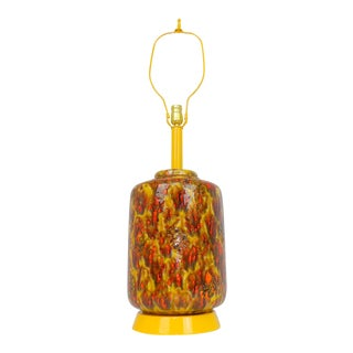 Mid-Century Modern Pottery Drip Glaze Ceramic Lamp