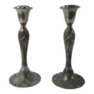 Vintage Godinger Silverplate Candlestick - A Pair