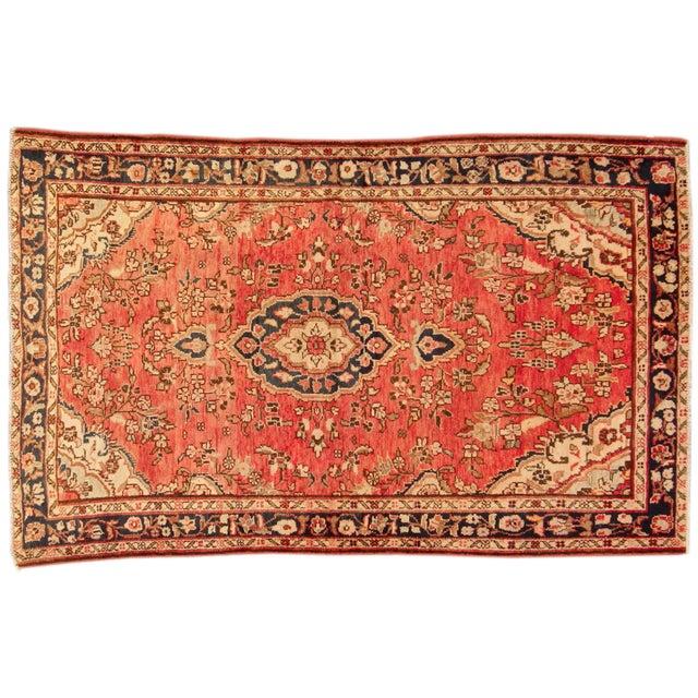 "Vintage Red & Blue Persian Wool Rug - 4'1"" X 6'8"" - Image 1 of 4"