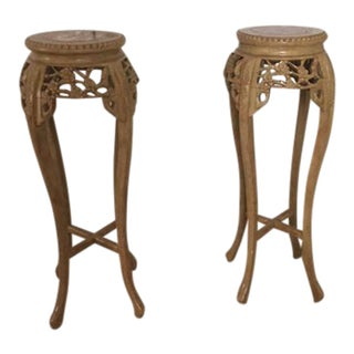 Carved Botanical Pedestals - A Pair