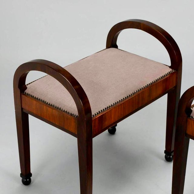 French Art Deco Upholstered Benches - A Pair - Image 6 of 10