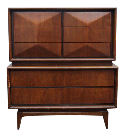 Good United Furniture Diamond Front Mid Century Dresser Customizable For A Fee