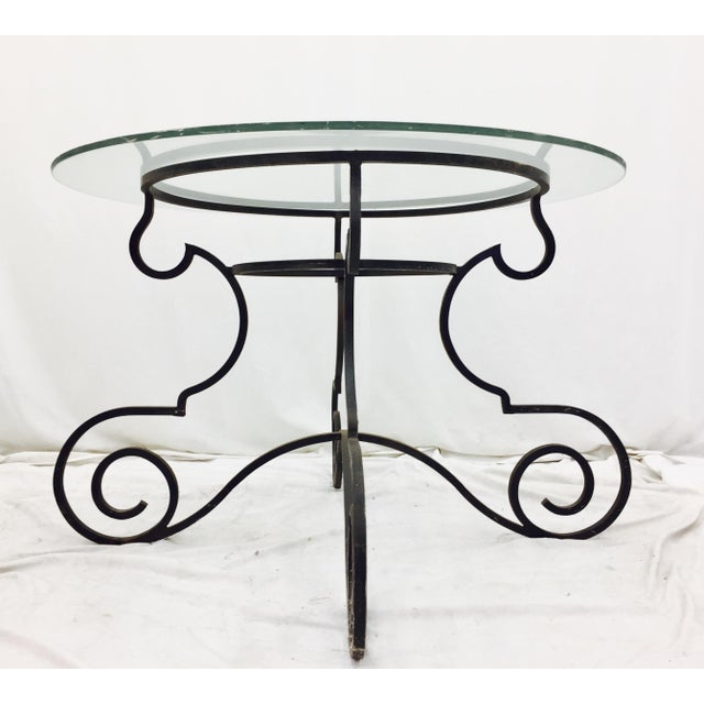 Vintage Wrought Iron & Glass Top Table - Image 6 of 6