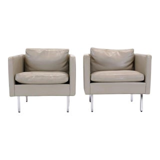 Pair of Even Arm Cube Lounge Chairs by Milo Baughman for Thayer Coggin