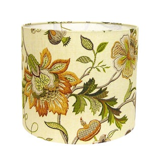 Amber Floral Drum Lamp Shade