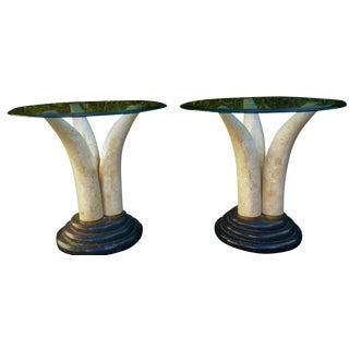 Pair of Faux Elephant Tusk Side Tables Attributed to Anthony Redmile