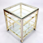 Image of Mid Century Modern Brass and Glass Trolley Table Gold Bar Cart
