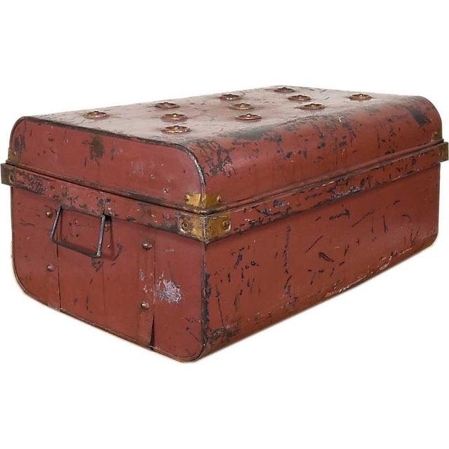 1950s Merlot Red Iron Traveler's Trunk - Image 3 of 5