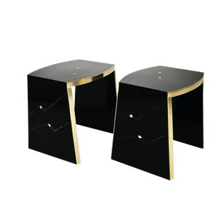 Ron Seff Gilt & Lacquer Side Tables - a Pair
