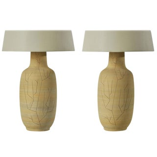 Pair of Hand Etched Ceramic Studio Table Lamps by Lee Rosen for Design Technics