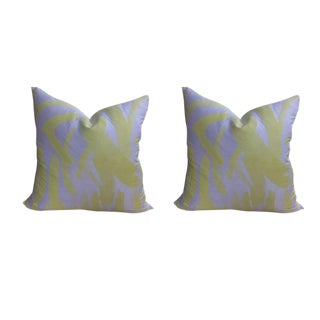 Amanda Nisbit Hand Printed Silk Pillows - a Pair