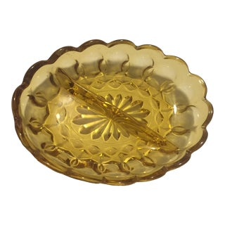 Amber Mid-Century Pickle Dish