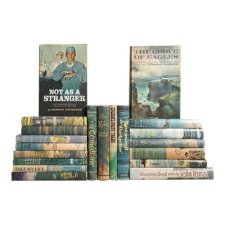 Midcentury Dustjacket Novels in Ocean Blue, S/20