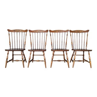 L. Hitchcock Windsor Fan Back Maple Dining Chairs - Set of 4
