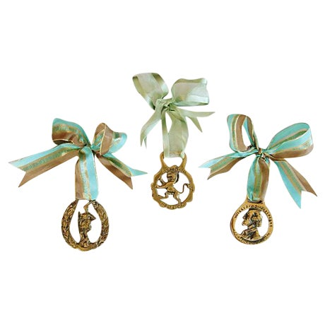 Image of English Brass Horse Ornaments - Set of 3