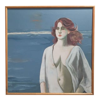 Woman at the Sea Mid-Century Oil on Canvas by Doris Klein
