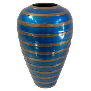 Blue & Gold Striped Brass & Enamel Vase