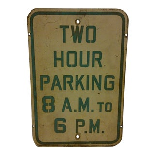 Vintage Porcelain Parking Sign