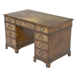 English Queen Anne Style Pedestal Desk $ 4,950.00