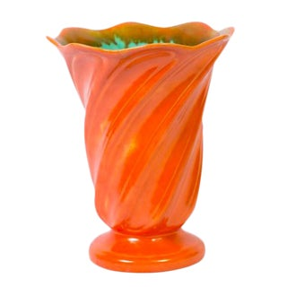 Large Orange & Green Art Pottery Vase