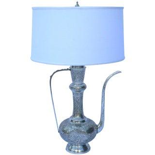 Silver Turkish Hand Engraved Tea Kettle Lamp