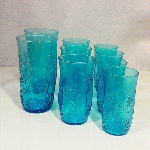 Turquoise Glass Daisy Tumblers - Set of 9 - Image 2 of 5