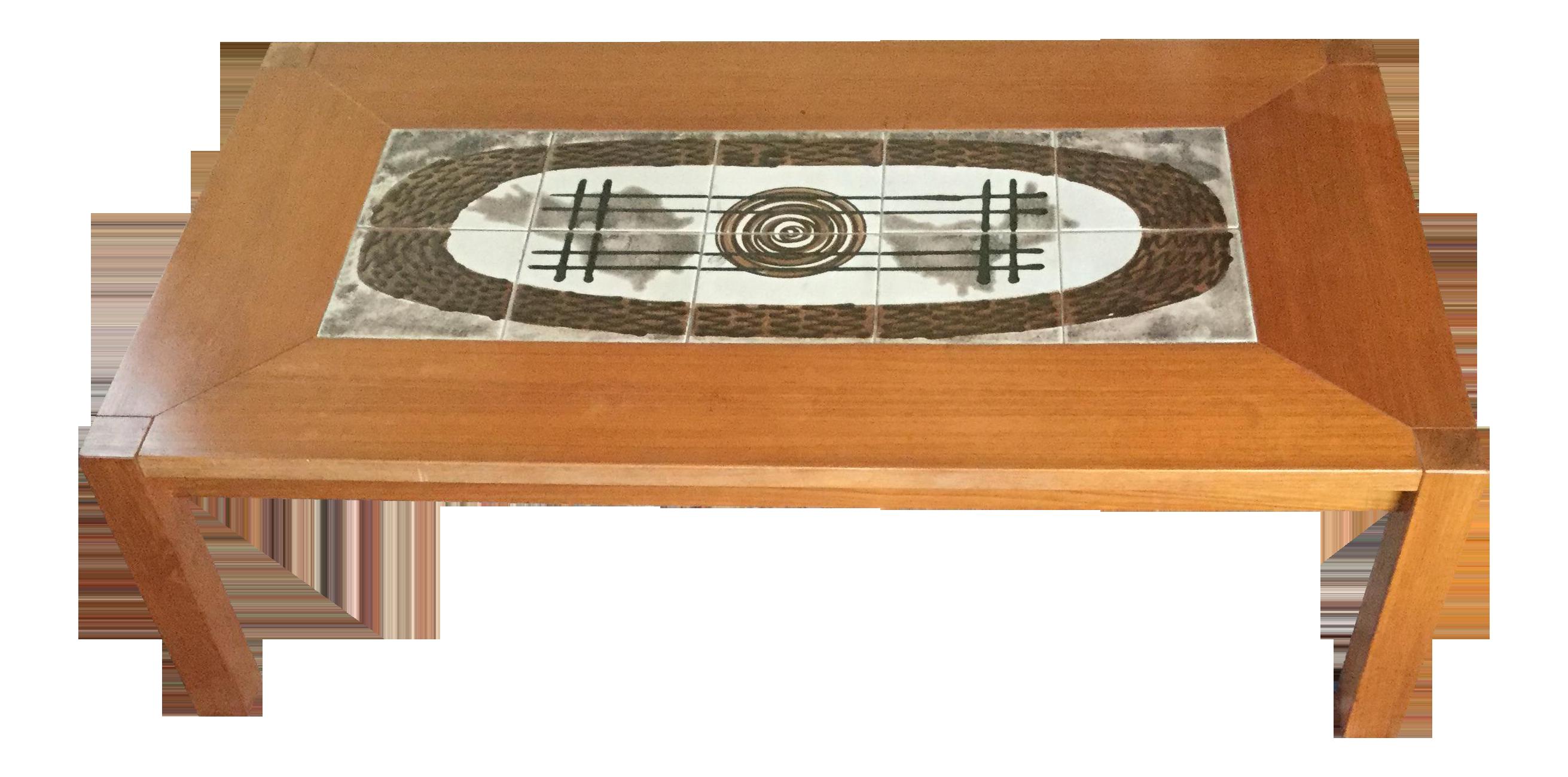 Danish Modern Tile Top Coffee Table   Image 1 Of 7