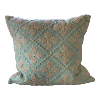 Seafoam Green Embroidered Pillow