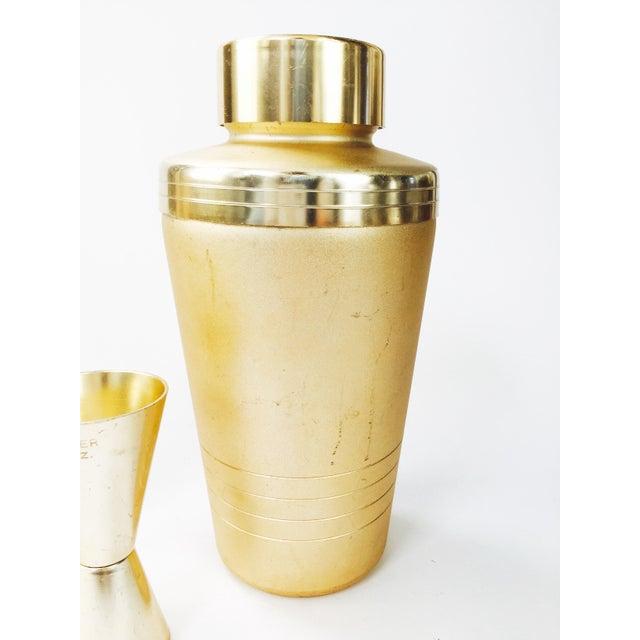 Image of Vintage Mirro Mid-Century Matte Gold Cocktail Set - Set of 3