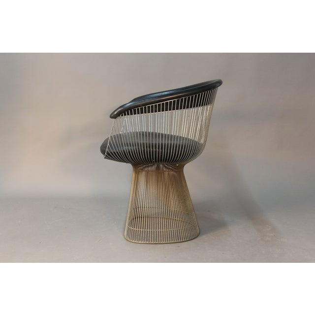 Image of Warren Platner Chairs With Black Leather - A Pair