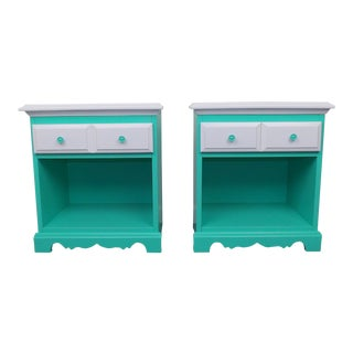 Mint & White Nightstands - A Pair