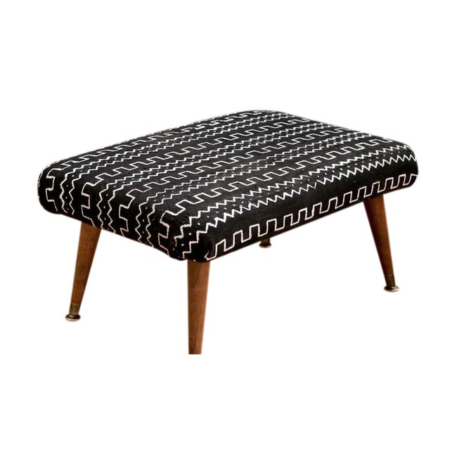 Mid-Century Modern Authentic African Mud Cloth From Mali Footstool - Image 2 of 7