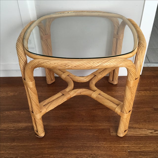 Boho Chic Wicker End Table - Image 2 of 5