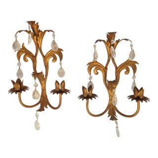 Gilt Metal Wall Sconces With Prisms - a Pair