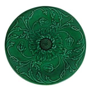 19th-C. Green Majolica Daisies Plate
