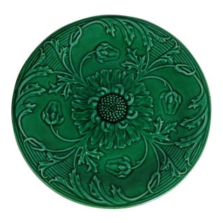 19th-C. Green Majolica Daisies Plate