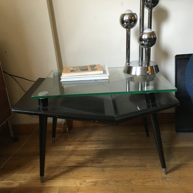 Mid-Century Modern Black Wood & Glass Side Table - Image 8 of 10