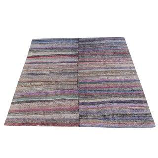 Vintage Turkish Multi-Color Handmade Flatweave Rug - 8′10″ × 10′