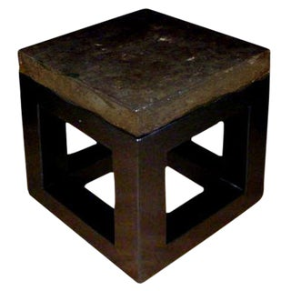 "Stone Top Side Table with Black base - 18"" x 18"""