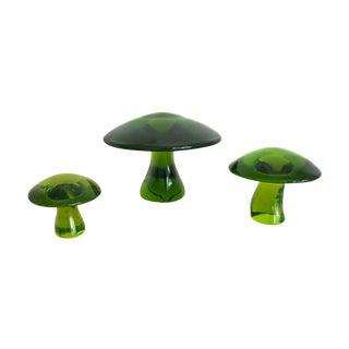 Green Viking Glass Mushrooms -  Set of 3